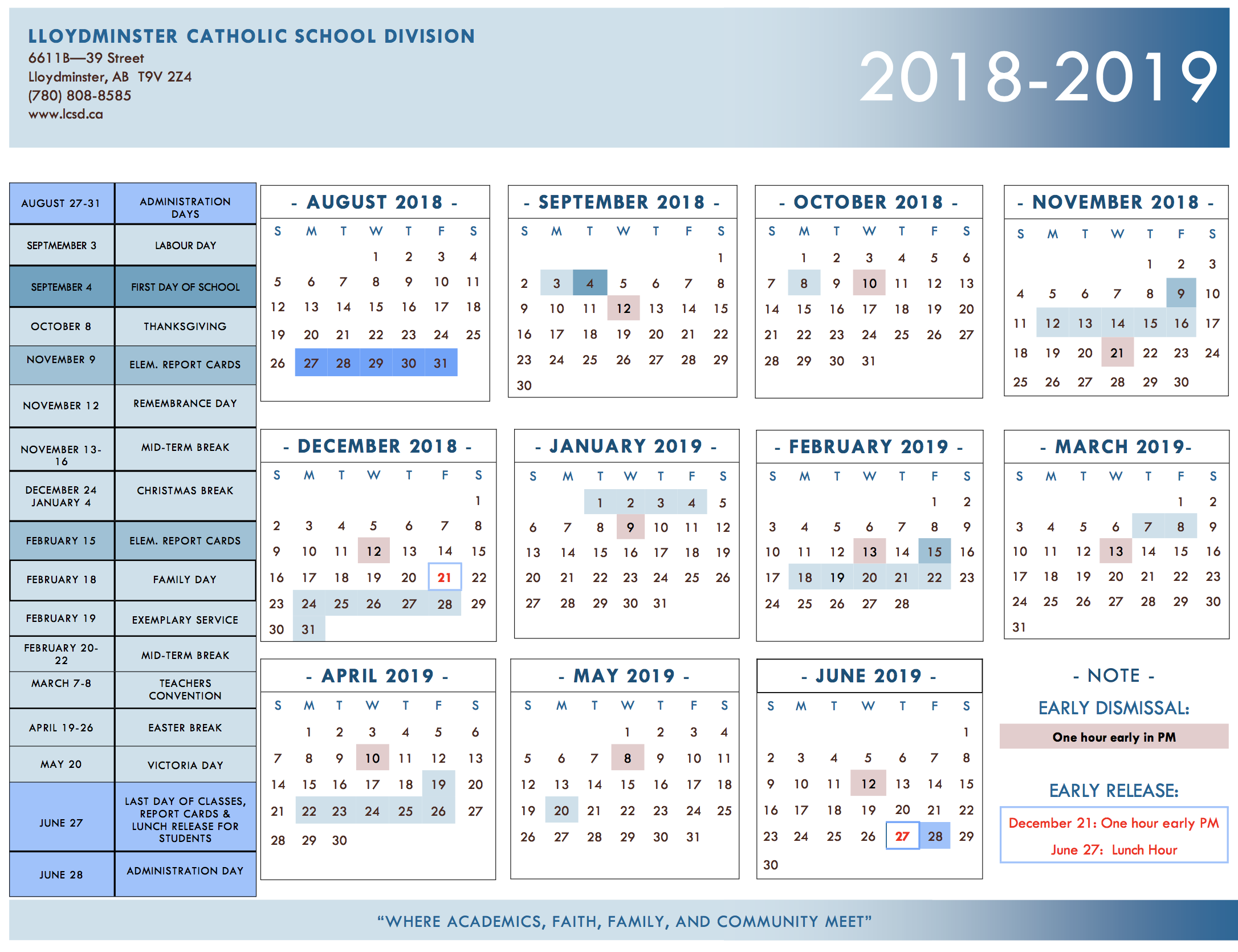 division calendar year at a glance